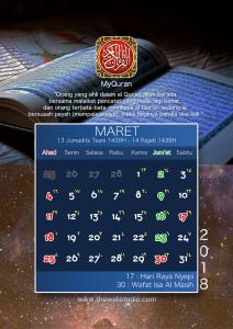 kalender 2018 myquran - Maret