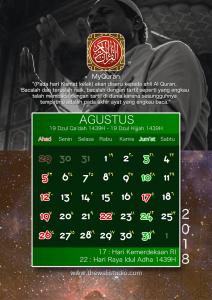 kalender 2018 myquran - Agustus